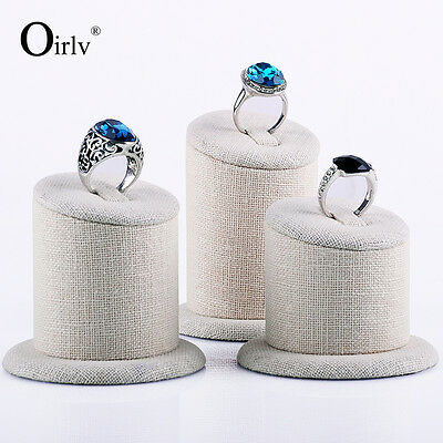 Oirlv Jewelry Display Ring Holder Stand Rings Organizer Cylinder Wood with Linen