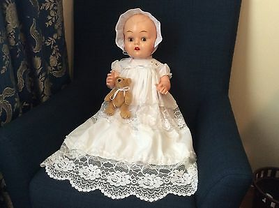Huge Kader Baby Doll 25 Inches Tall In Lovely Christening Gown.