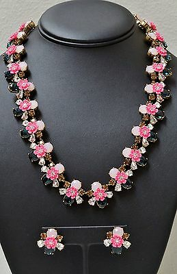 J CREW Pink Flower Blue White Crystals Earrings & Necklace  (02467)