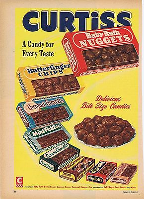 Curtiss Candy Baby Ruth Butterfinger 1954 Vintage Original Illustrated Print Ad