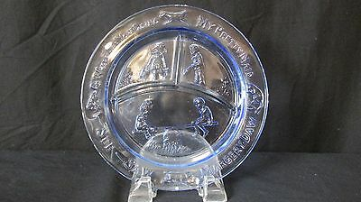 See-Saw Margery Daw Blue Glass Childs Divided Nursery Rhyme Plate
