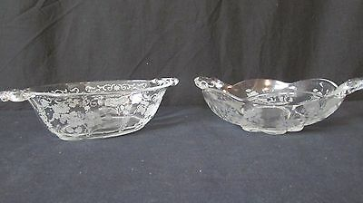 Cambridge Glass WILDFLOWER Pair of Handled Bowls