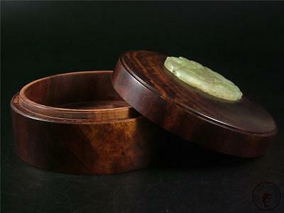 Large Antique Old Chinese Rosewood Jewelry Box Cosmetic Jar NEPHRITE JADE DECO