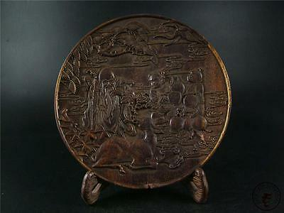 Antique Old Chinese Rosewood Hand Carved Plate Statue w/ stand GOD OF LONGEVITY
