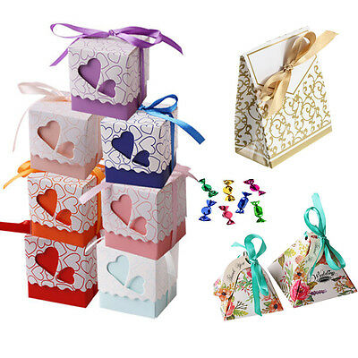1//50/100Pcs 3 Style Favor Ribbon Gift Box Candy Boxes Wedding Party Decor Gold