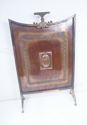 ENGLISH Recent British Import Antique Vintage FIREPLACE SCREEN COPPER FIRESCREEN