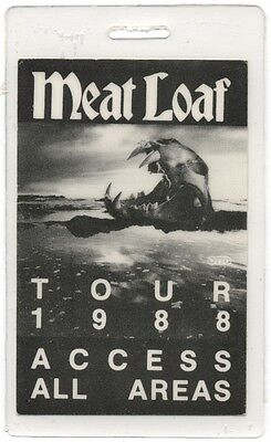 Meat Loaf authentic 1988 concert tour Laminated Backstage Pass