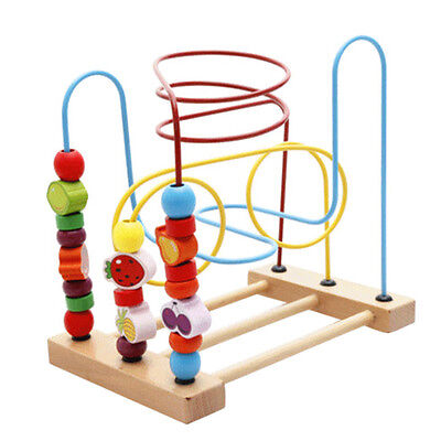 Baby Children Wooden Toy Mini Around Beads Wire Maze Colorful Educational Toys
