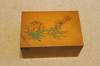 "Vintage/Antique Chinese Bamboo Box deco. w/ flowers & trees -7"" L"