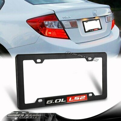 1 x Carbon Style ABS License Plate Frame Cover Front /& Rear W// 6.0L L76 Emblem