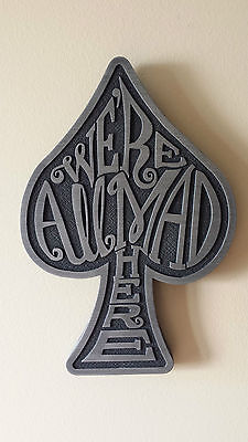 Alice in Wonderland themed We're All Mad Here plaque