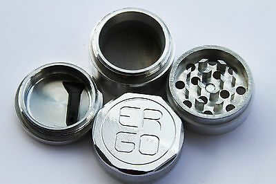 NEW ERGO Aluminum 4 Piece herb GRINDER with standard BUILT IN FIXED SCREEN 40mm