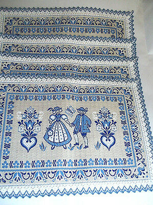 Vintage Set of Four Baumwolle Blue & White Placemats