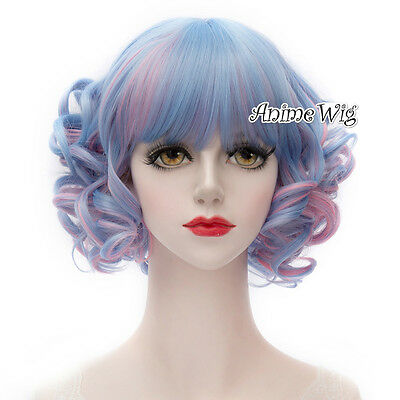 Lolita Blue Mixed Pink Short 30CM Curly Fashion Party Cosplay Wig + Wig Cap