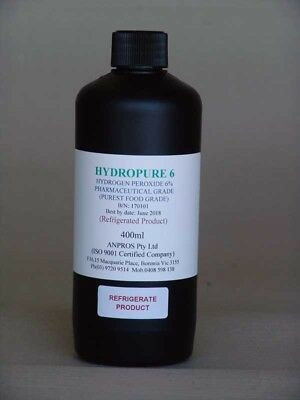 HYDROPURE    6 400ml, PHARMACEUTICAL, PUREST FOOD GRADE 6% HYDROGEN PEROXIDE