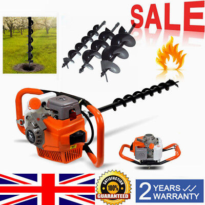 71cc Petrol Earth Auger Post Hole Digger Gasoline Engine+3 Drills Extension UK!