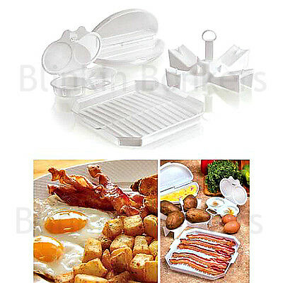 Microwave Egg Poacher Bacon Sausage Cooking Tray Omelette Maker Baked Potato 33C