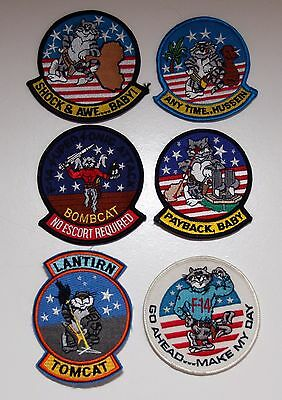 F-14 Tomcat Iraq & Afghanistan 6 Patch Lot - Payback / Hussein / Shock & Awe