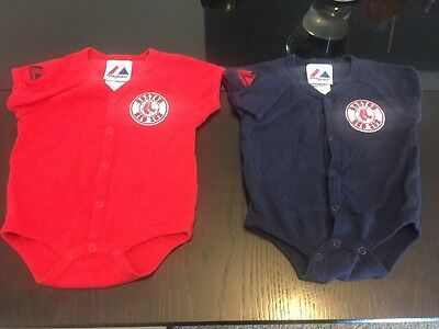 (2) Majestic BOSTON RED SOX Button Down Baby ONESIES 3-6months Short Sleeve