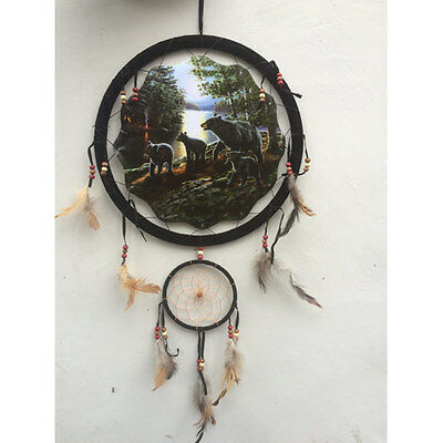 "13"" Black Bears Forest Woods Dream Catcher Wall Hang Decor Feathers Beads 1371"