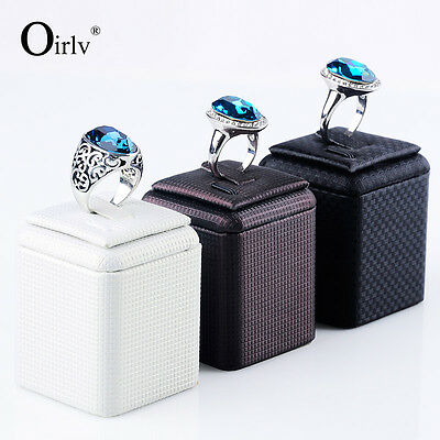 Oirlv PU Leather Ring Display Holder Jewelry Display Stand For Shop Exhibitior