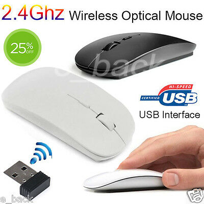 Slim 2.4 GHz Mini Optical Wireless Cordless USB Mouse Mice For Laptop PC Macbook