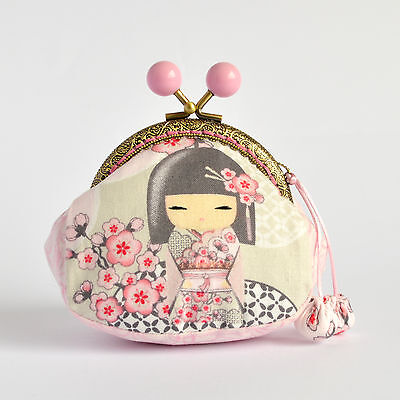 Hand crafted grey and pink Kimmidoll coin purse with pink beaded kiss lock frame