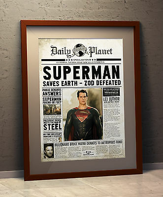 Superman - The Daily Planet INSPIRED A3 Faux Newspaper Poster