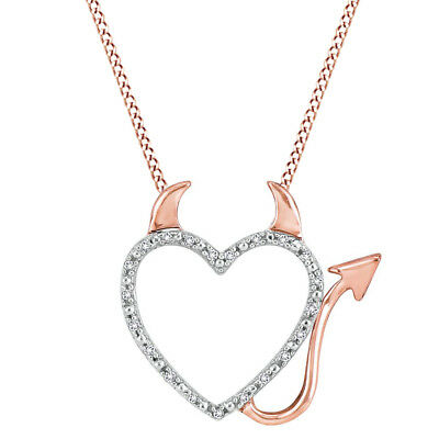 Sterling Silver & 14K Rose Gold Over Real Diamond Devil Heart Pendant With Chain