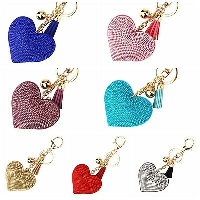 Women Crystal Rhinestone Pendant Heart Shape Key Ring Chain Keychain Ring