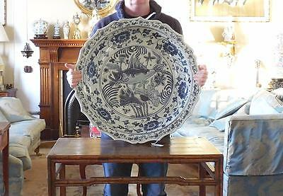 Massive 66cm Chinese Late Ming Early Qing Blue White Charger Dish Plate Bowl