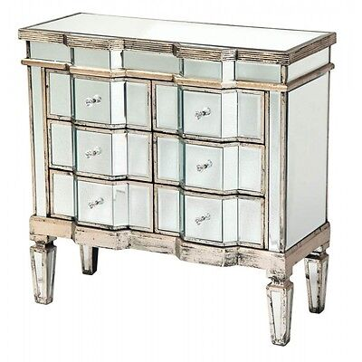 Venetian Mirrored & Distressed Antique Silver Classic 6 Drawer Chest Of Drawers