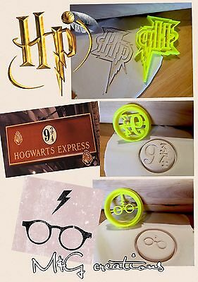 Harry Potter 3pcs Cookie Cutter Solemnly Mischief 9 3/4 Cupcake TopperFondant