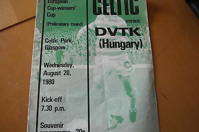 Celtic V Dvtk                   European Cup Winners Cup                 20/8/80