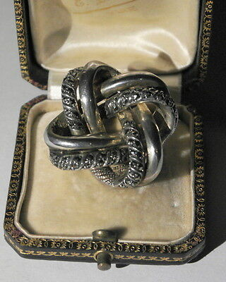 Antique Large Sterling Silver & Marcasite Lovers Knot Brooch 35mm / 30g