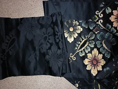 Vintage Japanese Hand Painted Black Silk Brocade Obi Sash Excellent  Condition