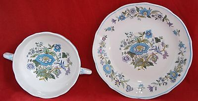 Spode MULBERRY Double Handle Soup Bowl/Dessert Coupe w Saucer (3 initially avai)