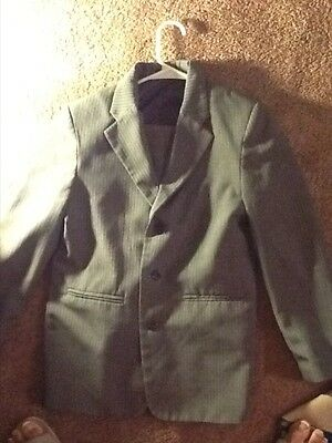 Boys Gray Pinstripe Suit Pants size 12 Jacket size 14