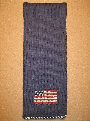 NWT's $175 Polo Ralph Lauren Hand Knit American Flag Scarf Merino Wool