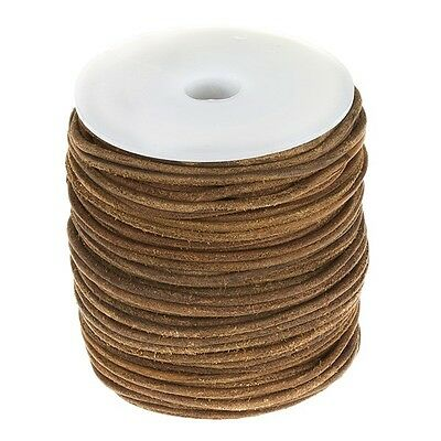 2.5mm Real Round Leather Cord - Rough Finish Brown 50m (A13)