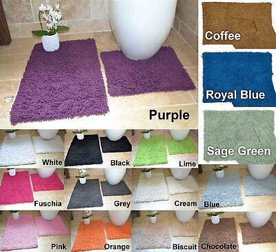 Two Piece Bath Mat / Rug & Pedestal Set 100% Cotton Luxurious Many Colours