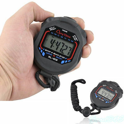 Digital Timer Handheld LCD Chronograph Sports Stopwatch Timer Stop Watch UK Sale
