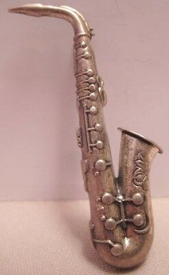 Awesome Antique Silver Saxophone Pin Beau Sterling 1940s-50 V Unusual!