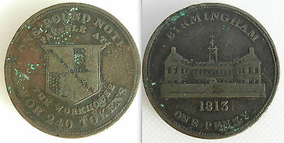 Collectable 1813 One Penny Token - Birmingham - The Workhouse