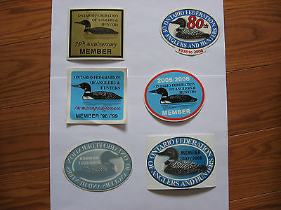6 Ontario Federation Of Anglers & Hunting   Stickers ,decals
