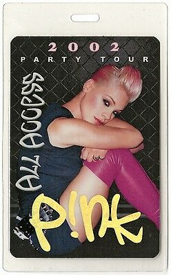 Pink authentic 2002 concert tour Laminated Backstage Pass