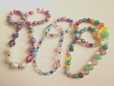 3 Vintage Harlequin Plastic Bead Necklace Stacking Necklaces Upcycled