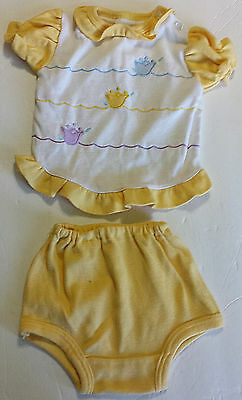 Vtg Baby Girl Springtime Outfit 2 Pc Set Yellow Tulip Ruffled Shirt & Bloomers