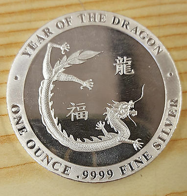 Silver year of the dragon one ounce coin