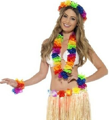 Hawaiian Fancy Dress 4 Piece Lei Garland Set Multi Rainbow Colour New by Smiffys